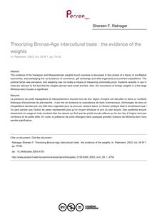 Theorizing Bronze-Age intercultural trade : the evidence of the weights - article ; n°1 ; vol.29, pg 79-92