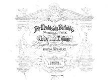 Partition Cover & index, Transcriptions - Mendelssohn, Lieder und Gesänge
