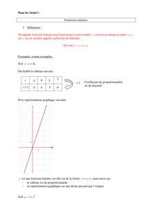Cours sur les fonctions linéaires