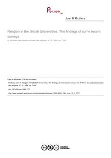 Religion in the British Universities. The findings of some recent surveys - article ; n°1 ; vol.18, pg 71-82