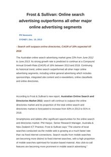 Frost & Sullivan: Online search advertising outperforms all other major online advertising segments