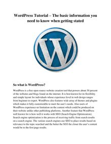 WordPress Tutorial – The basic information you need to know when getting stated