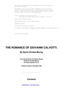 The Romance Of Giovanni Calvotti - From Coals Of Fire And Other Stories, Volume II. (of III.)