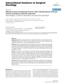 Obesity in post menopausal women with a family history of breast cancer: prevalence and risk awareness