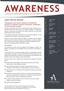 NSW Audit Office - Awareness - Issue 2003 09 - October 2003