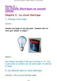 Cours de physique de 5ème sur Le circuit électrique