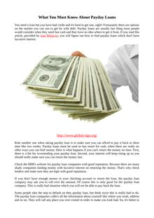 What You Must Know About Payday Loans