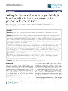 Axillary lymph node dose with tangential whole breast radiation in the prone versus supine position: a dosimetric study