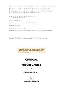 Critical Miscellanies (Vol. 2 of 3) - Essay 3: Condorcet