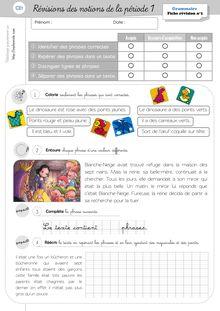 Evaluations CP/CE1 – 2011-2012 - Révisions Grammaire CE1 Période 1
