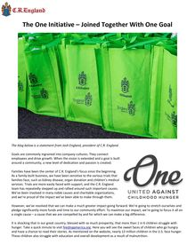 The One Initiative – Joined Together With One Goal