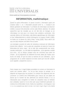 Définition de : INFORMATION, mathématique - Jean-Paul DELAHAYE