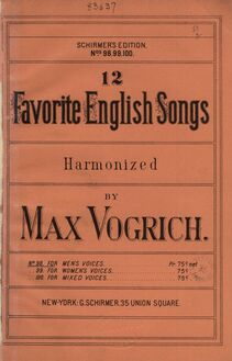 Partition Covers (colour), 12 Favorite anglais chansons, Vogrich, Max