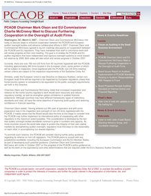 PCAOB News - Furthering Cooperation in the Oversight of Audit Firms