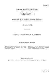 Bac 2015 - Sciences de l'ingénieur - Bac S