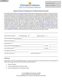 Request for Extension of Employment of a Postdoctoral Research ...