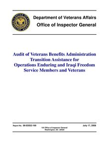 Department of Veterans Affairs  Office of Inspector General Audit of  Veterans Benefits Administration