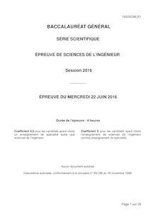 Baccalauréat Sciences de l'Ingénieur 2016 - Série S