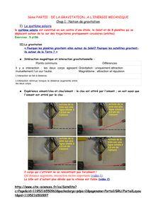 Cours sur la gravitation à l'énergie mécanique - physique-chimie 3e