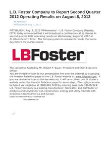 L.B. Foster Company to Report Second Quarter 2012 Operating Results on August 8, 2012