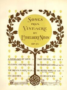 Partition Cover Page (color), chansons from Vineacre, Op.28, Nevin, Ethelbert