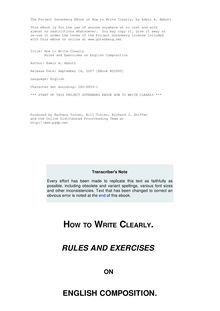 How to Write Clearly - Rules and Exercises on English Composition