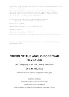 Origin of the Anglo-Boer War Revealed (2nd ed.) - The Conspiracy of the 19th Century Unmasked