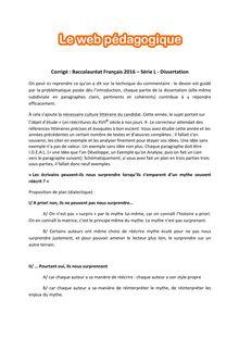 Baccalauréat Français 2016 - Série L - Dissertation