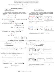 Système d'équation à 2 inconnues