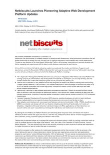 Netbiscuits Launches Pioneering Adaptive Web Development Platform Updates