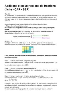 Additions et soustractions de fractions