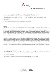 Les nombres réels : Frege critique de Cantor et de Dedekind/The real numbers : Frege's criticism of Cantor and Dedekind - article ; n°1 ; vol.50, pg 131-158