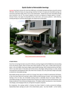 Quick Guide to Retractable Awnings