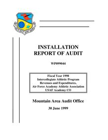 FY 1998 Intercollegiate Athletic Program Audit