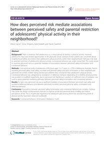 How does perceived risk mediate associations between perceived safety and parental restriction of adolescents' physical activity in their neighborhood?