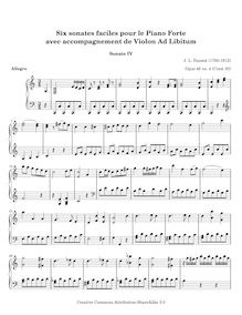 Partition No.4 en C major, 6 Sonates faciles, Six SONATES Faciles Pour le Piano Forte AVEC ACCOMPAGNEMENT de Violon Ad Libitum