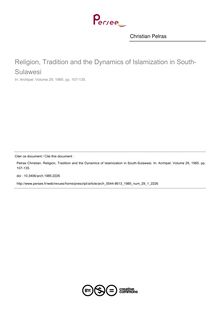 Religion, Tradition and the Dynamics of Islamization in South-Sulawesi - article ; n°1 ; vol.29, pg 107-135