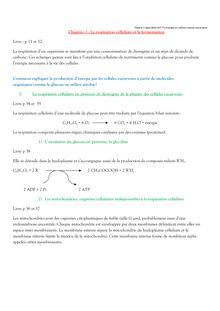 La respiration cellulaire et la fermentation - Spécialité SVT Terminale S