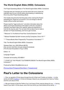 The World English Bible (WEB): Colossians