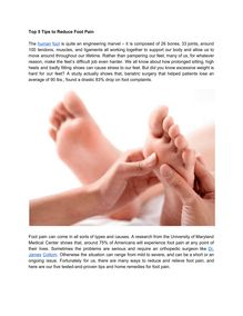 Top 5 Tips to Reduce Foot Pain
