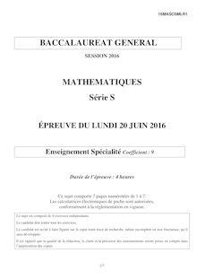 Baccalauréat Mathématiques 2016 - Série S, spécialité