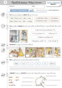 Lecture / Littérature CP et CE1 – Pipioli la terreur (P.3) - Les exercices Fiches dexercices CP