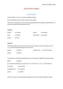 Les articles en anglais - Apprendre l'anglais en ligne