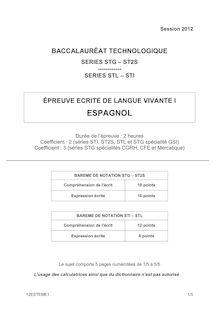 Bac 2012 STG ST2S STI STL Espagnol LV1