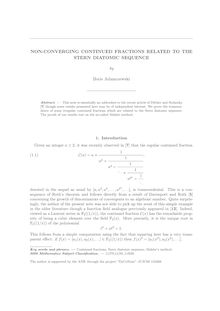 NON CONVERGING CONTINUED FRACTIONS RELATED TO THE STERN DIATOMIC SEQUENCE