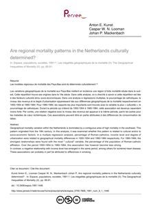 Are regional mortality patterns in the Netherlands culturally determined?  - article ; n°1 ; vol.9, pg 85-91