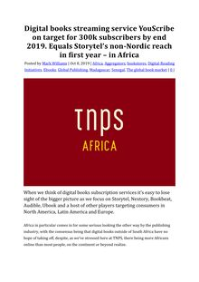 Digital books streaming service YouScribe on target for 300k subscribers by end 2019. Equals Storytel's non-Nordic reach in first year – in Africa