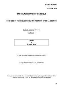 Baccalauréat Économie-Droit 2016 - Série STMG