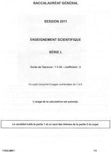 Bac Premiere 2011 L Enseignement scientifique