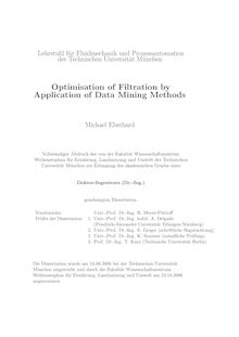 Optimisation of filtration by application of data mining methods [Elektronische Ressource] / Michael Eberhard